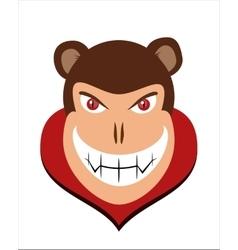 Scary halloween dracula monkey head with red eye vector image