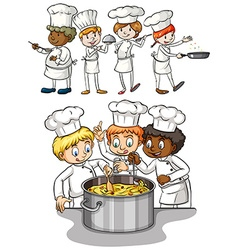 Set of chef cooking vector image vector image