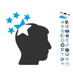 Stars hit head icon with copter tools bonus vector