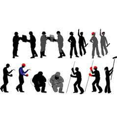 tradesmen silhouettes vector image vector image