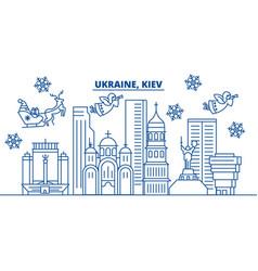 Ukraine kiev winter city skyline merry christmas vector