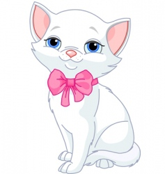 Very cute white cat vector