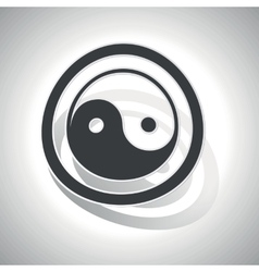 Ying yang sign sticker curved vector