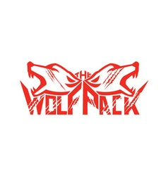 The wolf pack head retro vector