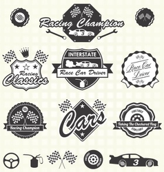 Retro race car champion labels vector
