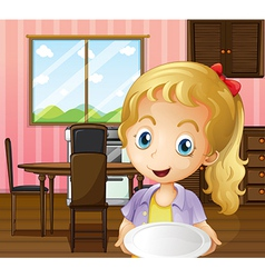 A girl holding an empty plate in the dining area vector image