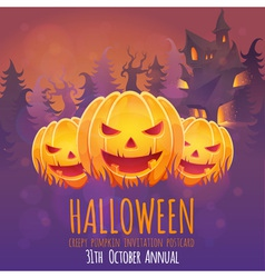 Creepy dark halloween invitation card vector