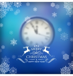 Christmas typography clock background vector