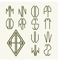 Set 2 templates of letters to create monogram vector