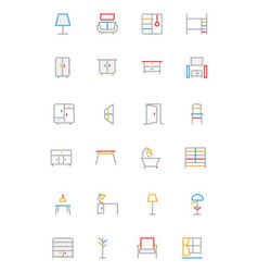 Furniture colored outline icons 2 vector