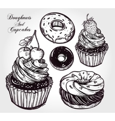 Donuts and cupcakes set vector image