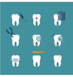 Dental care tooth icons vector