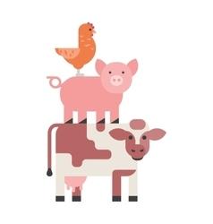 Farm animals set hen pig and cow domestic cartoon vector