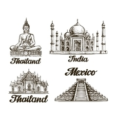 Travel hand drawn sketch of india thailand vector