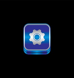 Blue metal plate theme icon button vector