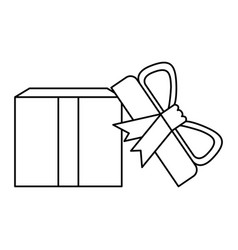 Black silhouette of opened gift box with vector