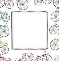 Card with bicycle and trail from wheel vector