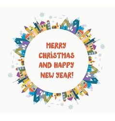 Christmas and New Year greeting card with nice vector image vector image