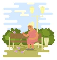 Elderly woman outdoors vector
