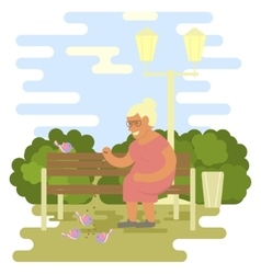 Elderly woman outdoors vector image