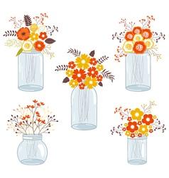 Fall Flowers In Jars vector image