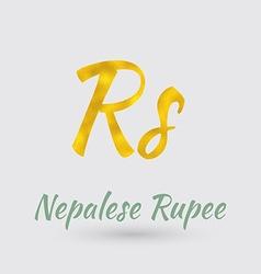 Golden nepalese rupee symbol vector