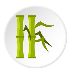 Green bamboo stems icon circle vector