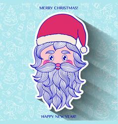 hand drawn head of santa vector image