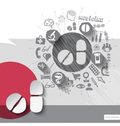 Hand drawn pills icons with icons background vector