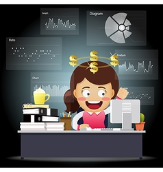 Happy business woman working with data processing vector