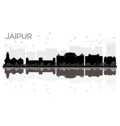 Jaipur city skyline black and white silhouette vector