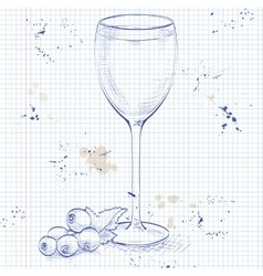 Kir alcohol cocktail on a notebook page vector