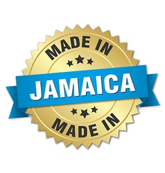 made in Jamaica gold badge with blue ribbon vector image