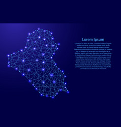 map of iraq from polygonal blue lines vector image vector image