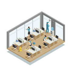 Office cleaning isometric composition vector