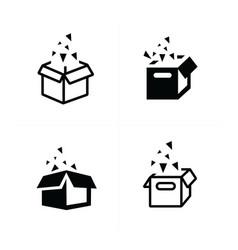 Open box icons vector