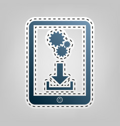 Phone icon with settings symbol blue icon vector
