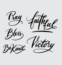 pray and victory handwriting calligraphy vector image vector image