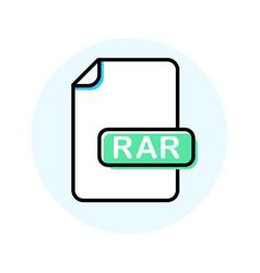 Rar file format extension color line icon vector