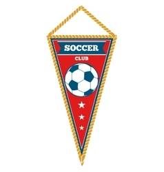 Red triangle soccer pennant isolated white vector image