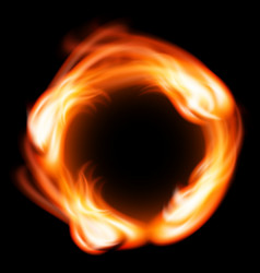 Ring of fire in black background vector