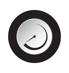 Round black and white button - dial symbol icon vector