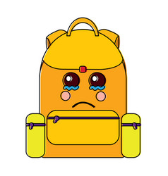 Sad backpack school supplies kawaii icon imag vector