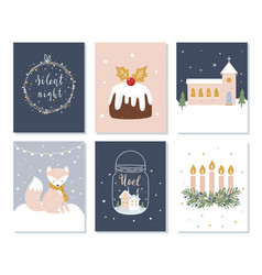 set of christmas and winter holidays cards advent vector image