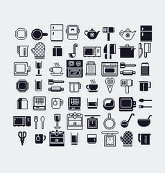 set of dishes pixel art icons set vector image vector image