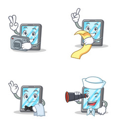 Set of tablet character with menu waiter binocular vector