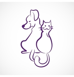 Sketchy cat and dog vector image