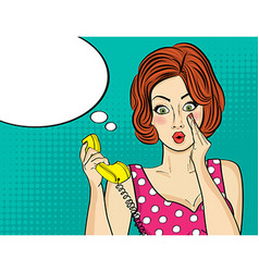 Surprised pop art woman chatting on retro phone vector image