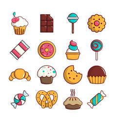 Sweets candy cakes icons set cartoon style vector