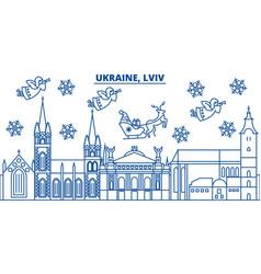 Ukraine lviv winter city skyline merry christmas vector